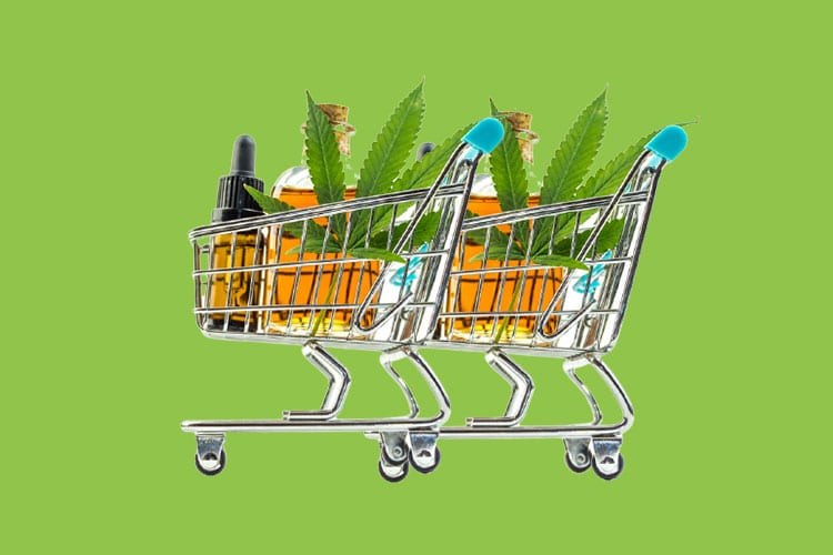 shopping cart with cbd products